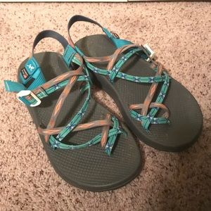 Unique Teal and salmon Chacos
